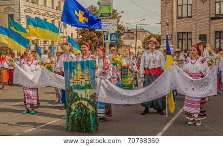 A Delegation From The Poltava Region On Parade Vyshivanok (embroidery)