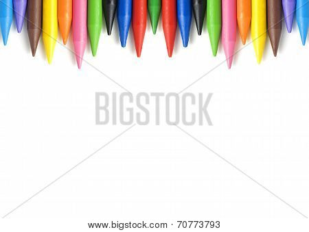 A Stack Of Colorful Crayons