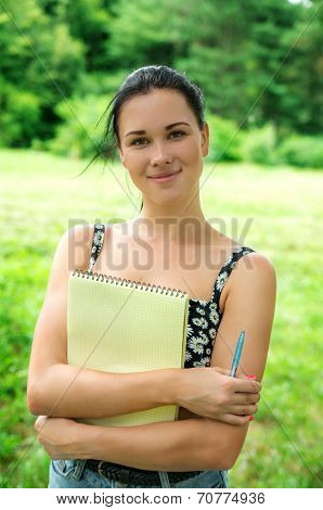 Student Studying Outdoor In Park