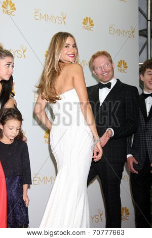 LOS ANGELES - AUG 25:  Sofia Vergara, Jesse Tyler Ferguson at the 2014 Primetime Emmy Awards - Press Room at Nokia Theater at LA Live on August 25, 2014 in Los Angeles, CA