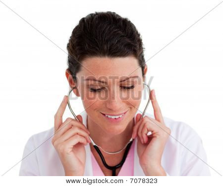Confident Female Doctor Holding A Stethoscope