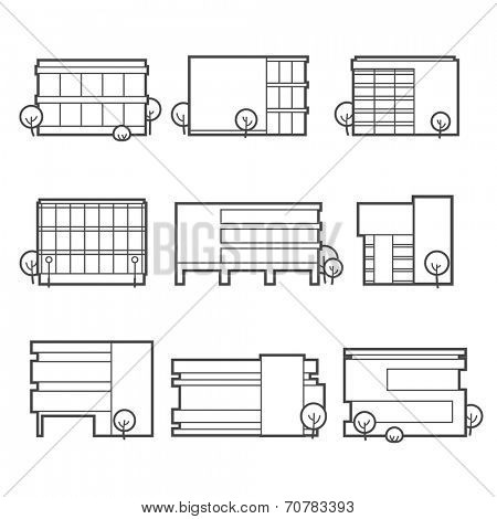 Office building icons / linear flat style