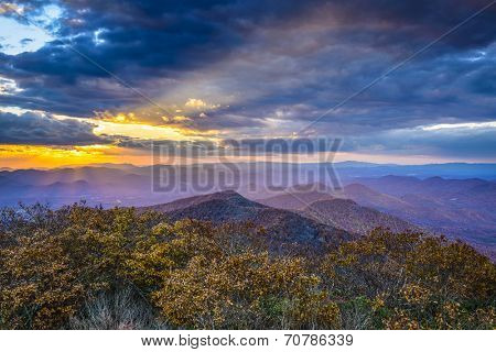 Blue Ridge Mountains in North Georgia, USA in the autumn season at sunset.