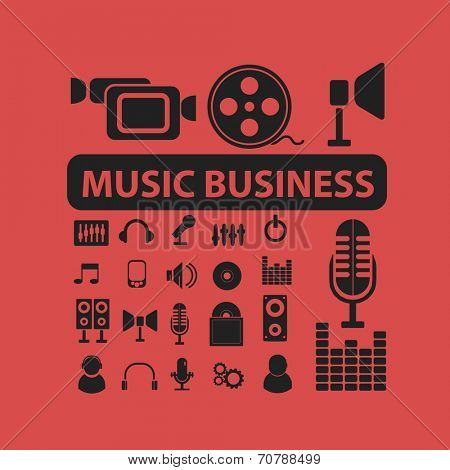 music business, studio records, audio, radio business isolated icons, signs, symbols, illustrations, silhouettes, vectors set