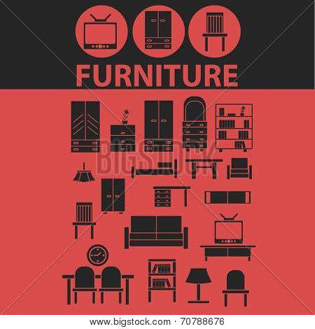 furniture, interiour design, room decoration isolated icons, signs, symbols, illustrations, silhouettes, vectors set