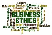 Business Ethics Word Cloud on White Background poster