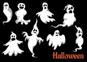 Night halloween ghosts set isolated on black background for fear and scary holiday design poster