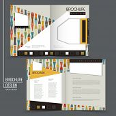 colorful geometric style half-fold template for advertising concept brochure poster