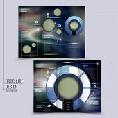 hi-tech style tri-fold template for business advertising concept brochure poster