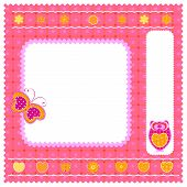 funny frame with cute little owl and butterfly poster