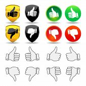 Selection of thumb icons and badges, with thumb pointing up and down for the right and left hand. poster