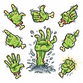 Cartoon Zombie Hands Set for Horror Design. Isolated on White Background. Clipping paths included in additional jpg format poster