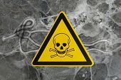 Ebola virus seen under a microscope with epidemic sign poster