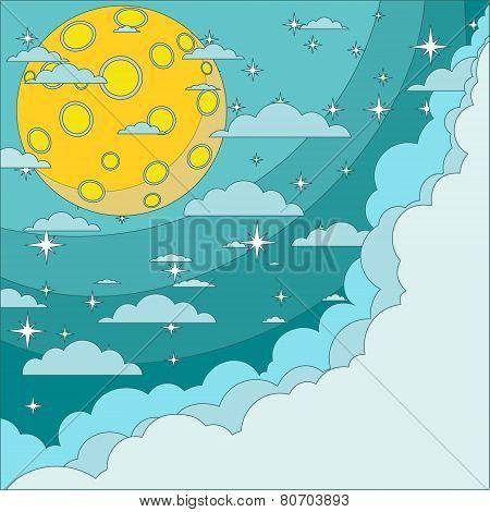Full moon on background of the night sky, vector illustration