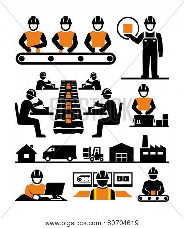 Manufacturing process assembly workers vector icons