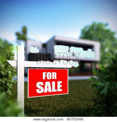 A 3D illustration of Home For Sale sign in front of new modern house.