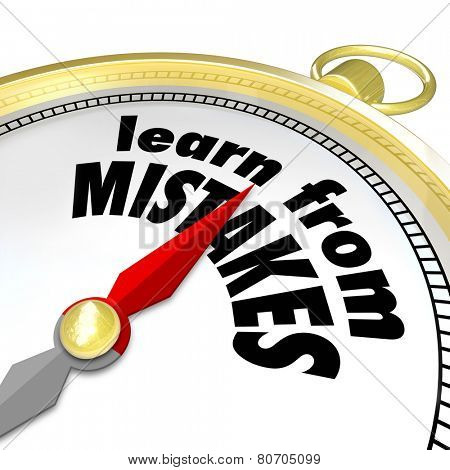 Learn From Mistakes words on a gold compass to illustrate trying again after a failure to achieve success through trial and experimentation