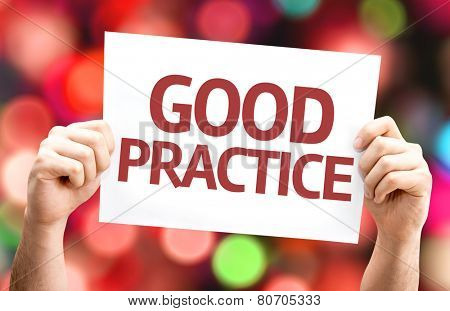 Good Practice card with colorful background with defocused lights
