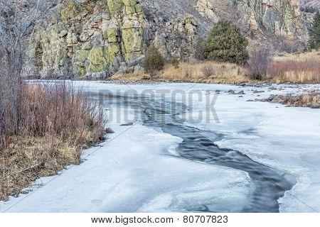 Cache la Poudre River in winter scenery, Gateway Natural Area near Fort Collins, Colorado