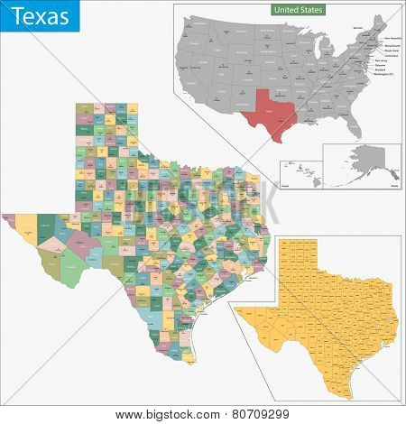 Map of Texas state designed in illustration with the counties and the county seats