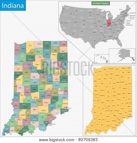 Map of Indiana state designed in illustration with the counties and the county seats