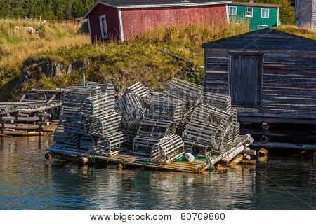 A tumbled down stack of lobster traps in coastal Newfoundland near Trinity.