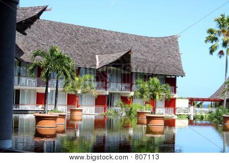 tropical resort building in Tahiti poster