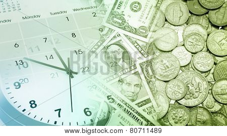 Clock face, calendar and American currency
