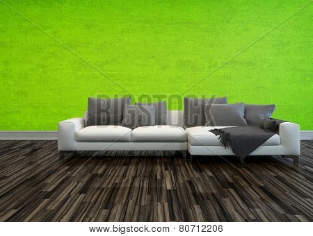 3D Rendering of Single large white sofa with grey cushions standing on a bare wooden parquet floor against a bright green living room wall