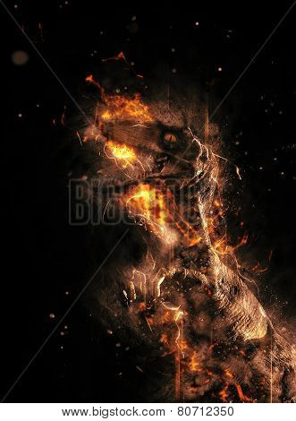 Flaming prehistoric dinosaur or dragon engulfed in fire on a black background in a conceptual image