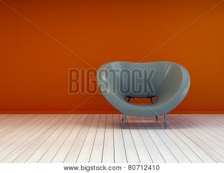 3D Rendering of Modern minimalist interior decor or design background with a stylish tub chair against a burnt orange wall on a bare white painted wooden parquet floor with copyspace