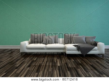 3D Rendering of White Sofa with Grey Cushions in Room with Hardwood Flooring and Teal-Green Colored Walls