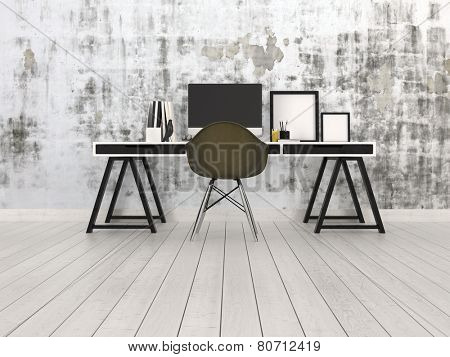 3D Rendering of Modern black and grey office interior with a trestle desk with desktop monitor, chair and blank picture frames on a bare hardwood floor against an abstract patterned grey wall