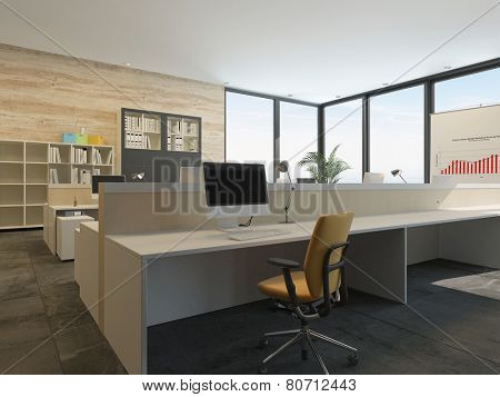 3D Rendering of Modern office interior with multiple open-plan work stations at long desks in a spacious airy room with floor-to-ceiling glass windows on two walls