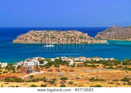 Spinalonga island at turquise water of Crete, Greece
