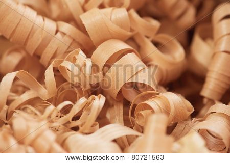 Wood working wood shavings in variety of sizes.