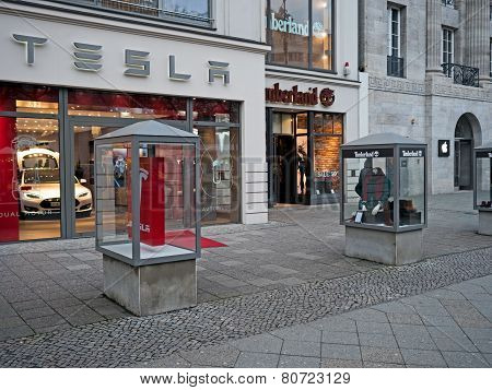 Shops of Apple, Timberland and Tesla in Kurfürstendamm, Berlin, Germany