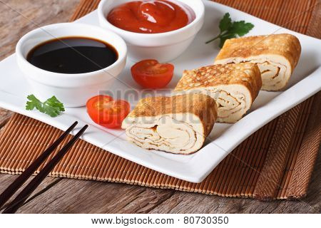 Japanese Omelet Tamago With Sauce, Horizontal
