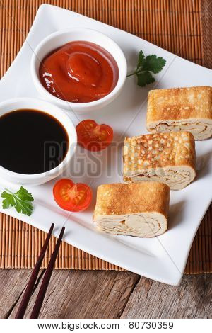 Japanese Omelet Tamago With Sauce  Vertical Top View