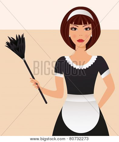Cleaning yang  lady with cleaning tool.Vector illustration