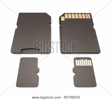 Micro SD card and adapter top and bottom side isolated on white. poster