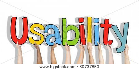 Diverse Hands Holding the Word Usability