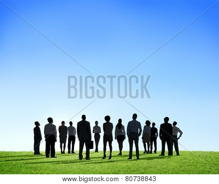 Business People Silhouette Outdoors The Way Forward Vision