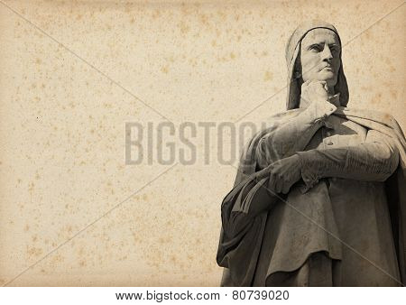 Statue Of Dante On Yellowed Paper