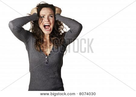 Frustrated And Angry Woman Screaming