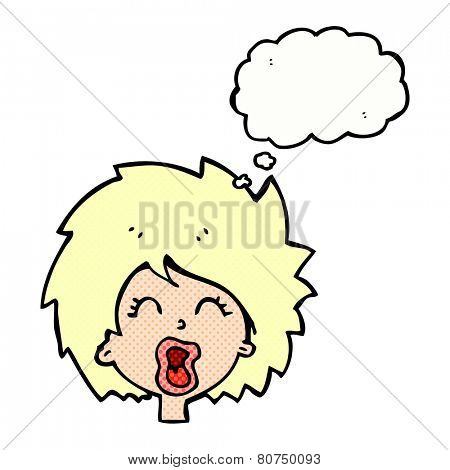 cartoon yawning woman