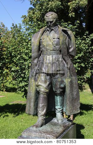 KUMROVEC, CROATIA - SEPTEMBER 24: The statue of former Yugoslav President Josip Broz Tito in front of his native house in Kumrovac, Croatia on September 24, 2013.
