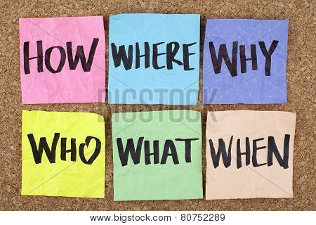 How Where Why Who What When / Questions on Cork Board