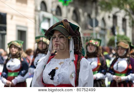 Girl With The Sardinian Typical Costumes