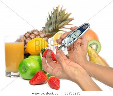 Diabetes diabetic concept. Measuring glucose level blood test on organic food fruits and vegetables background poster